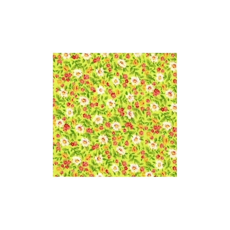 Tissu patchwork fleuris fond jaune vert 15583 tissu pas cher - Tissu patchwork pas cher ...