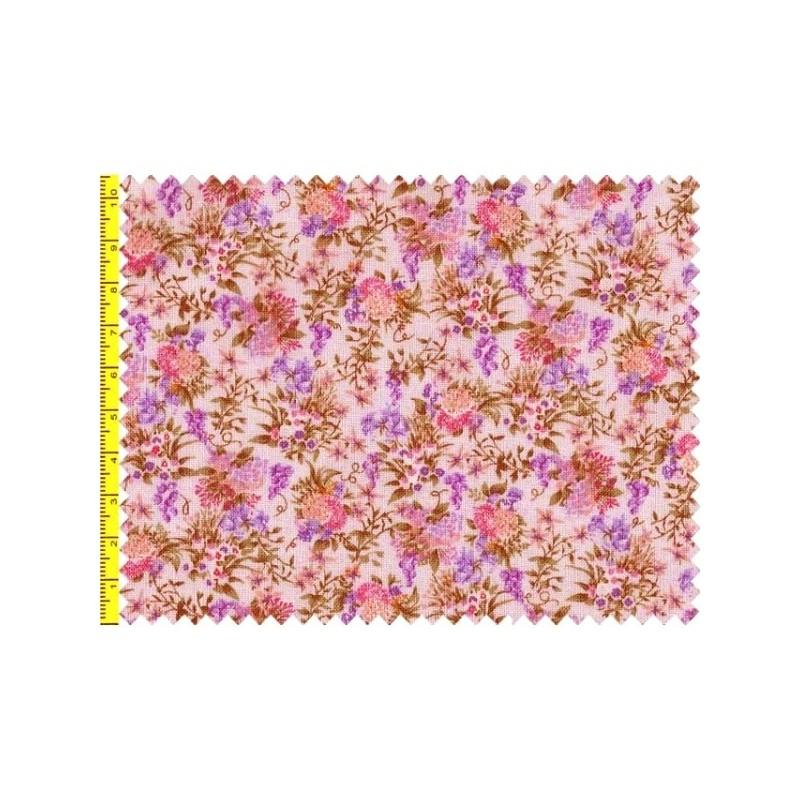 Tissu patchwork fleuris fond parme 15606 tissu pas cher - Tissu patchwork pas cher ...