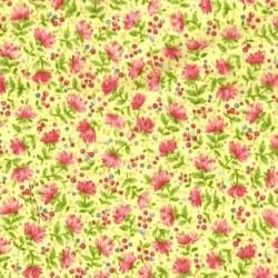 Tissu patchwork fleuris fond jaune - 15580