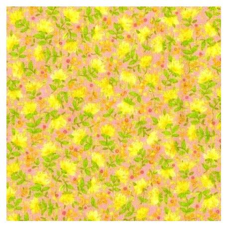 Tissu patchwork fleuris fond rose - 15581