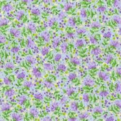 Tissu patchwork fleuris fond bleu ciel - 15582