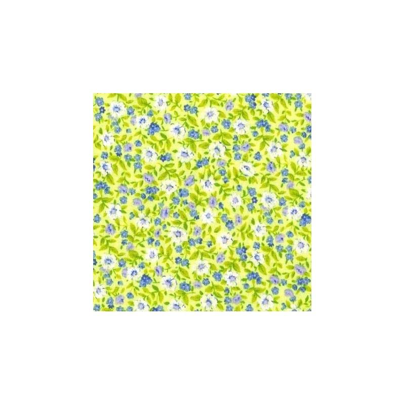 tissu patchwork petites fleurs fond jaune vert 15585 tissu pas cher. Black Bedroom Furniture Sets. Home Design Ideas