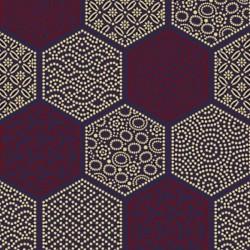 jap-14 : fond bleu et motifs en héxagones