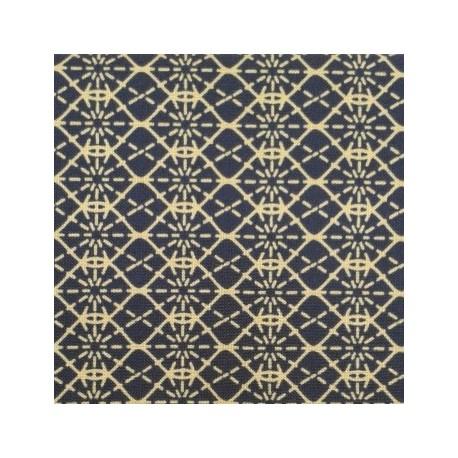 jap-8 : fond bleu et motifs géométriques en traits beiges