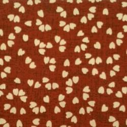 jap-25 : fond rouge et motifs coeurs beiges
