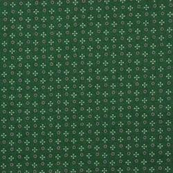 13685-fond vert foncé, petits cercles roses et trèfles blancs