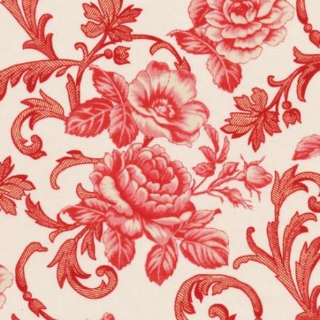 Lady in red grands motifs floraux rouges sur fond écru