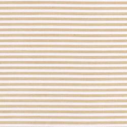 Tissu coton polyester à rayures beige et blanc