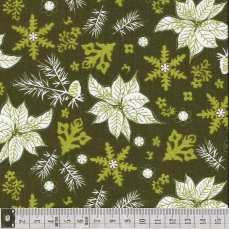 Winter Song, poinsettias sur fond vert