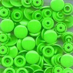 Pressions plastiques ronds vert fluo T5 12.4mm pour pince KAM