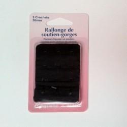 Rallonge soutien-gorge -3 agrafes- noir - 50mm