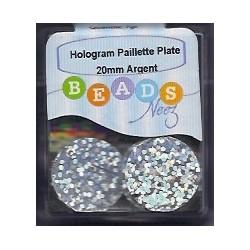 Hologram paillette plate col. argent