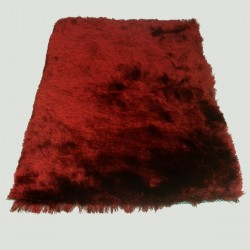 Tapis shaggy rouge longues mèches