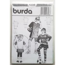 Patron burda 4358 - teeshirts et leggins enfants - taille 6-16ans