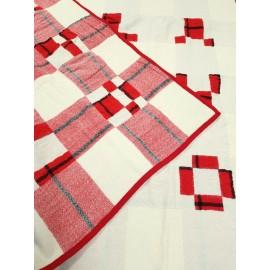 Plaid en pure laine rouge et blanc