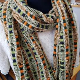 Écharpes vert et orange pure laine